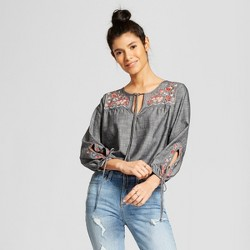 Women's Floral Print Embroidered Tie Sleeve Top - Knox Rose™ Black