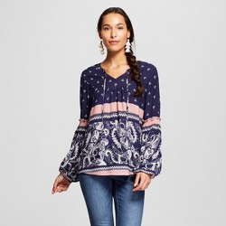 Women's Mix Print Long Sleeve Smocked Arm Top - Knox Rose™ Navy