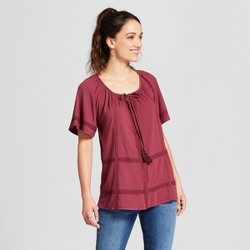 Women's Lace Trim Knit Top - Knox Rose™ Wine