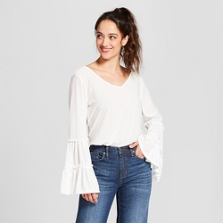 Women's Long Tiered Sleeve Knit Blouse - Notations - White