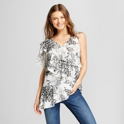 Women's Sleeveless Floral Asymmetrical Ruffle Blouse - Notations - White