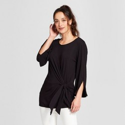 Women's 3/4 Sleeve Tie Front Blouse - Notations - Black