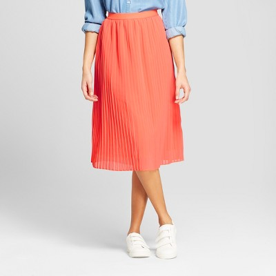 Women's Pleated Midi Skirt   A New Day™ Coral by A New Day™