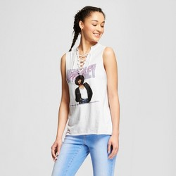 Women's Whitney Houston Lace-Up Graphic Tank Top (Juniors') White