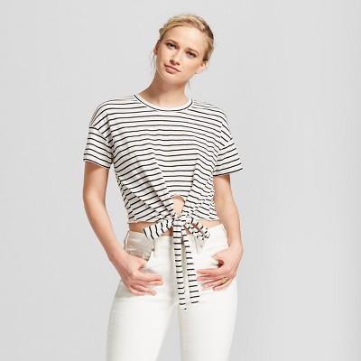 83184cde0f Women s Short Sleeve Stripe Tie Front Knit Top – Xhilaration ...