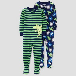 Baby Boys' 2pk Lizard Stripe Footed Pajama Set - Just One You™ Made by Carter's® Green