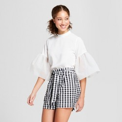 Women's Organza Exaggerated Sleeve Blouse - A New Day™ White
