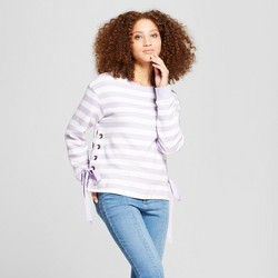 Women's Striped Side Grommet Detail Lace-Up Pullover - A New Day™