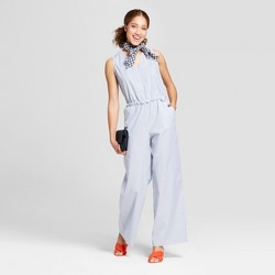 Women's Striped Cinched Waist Jumpsuit - A New Day™ Blue/White