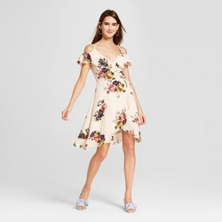 Women's Floral Print Cold Shoulder Wrap Dress - Love @ First Sight (Juniors') White