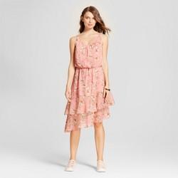 Women's Floral Print Asymmetrical Hem Dress - A New Day™ Pink