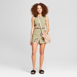 Women's Printed Crepe Romper - A New Day™ Olive