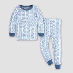 Burt's Bees Baby Toddler Boys' Watercolor Chevron Pajama Set - Blue