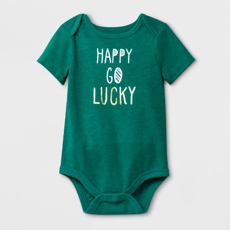 "Baby Girls' ""Happy Go Lucky"" Short Sleeve Bodysuit - Cat & JackMint Green"