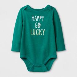 "Baby Girls' ""Happy Go Lucky"" Long Sleeve Bodysuit - Cat & Jack™ Mint Green"