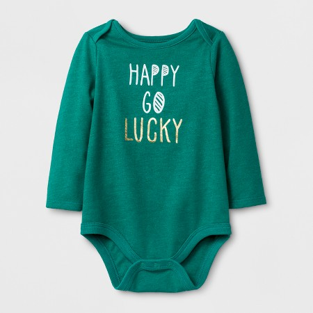 "Baby Girls' ""Happy Go Lucky"" Long Sleeve Bodysuit - Cat & JackMint Green"