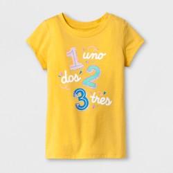 "Toddler Girls' ""Uno Dos Tres"" Short Sleeve T-Shirt - Cat & Jack™ Yellow"