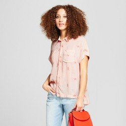 Women's Printed Short Sleeve Any Day Shirt - A New Day™ Peach