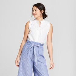 Women's Sleeveless Eyelet Blouse - A New Day™