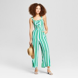Women's Striped Tie Front Jumpsuit - A New Day™ Green