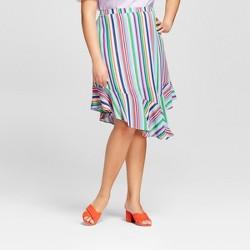 Women's Plus Size Striped Handkerchief Hem Skirt - A New Day™ Blue/Pink/Green