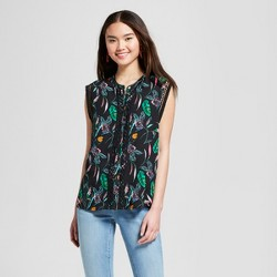 Women's Printed Sleeveless Crochet Detail Blouse - A New Day™ Black