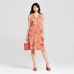 Women's Floral Print Shoulder Tie Dress - Lily Star (Juniors') Pink
