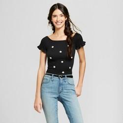 Women's Short Sleeve Off the Shoulder Smocked Applique Top - Almost Famous (Juniors') Black