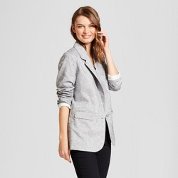 Women's Metallic Linen Blazer with Side Button Detail - A New Day™ Gray/White