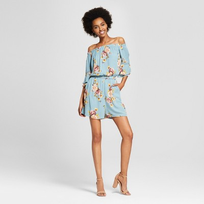 a47a3ecee205 view Women s Off the Shoulder Tiered Short Sleeve Floral Romper -  Xhilaration on target.com