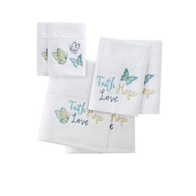 Reflection 6pc Embroidered Bath Towel Set Blue (27x52 )