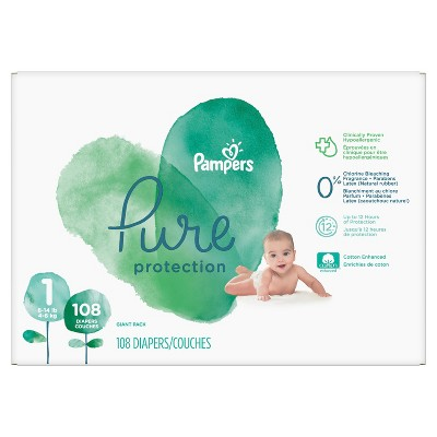 Pampers Pure Protection Disposable Diapers Giant Pack - Size 1 (58ct )