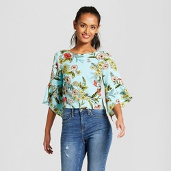 Women's Floral Print Bell Sleeve Tie Back Top - 3Hearts (Juniors')