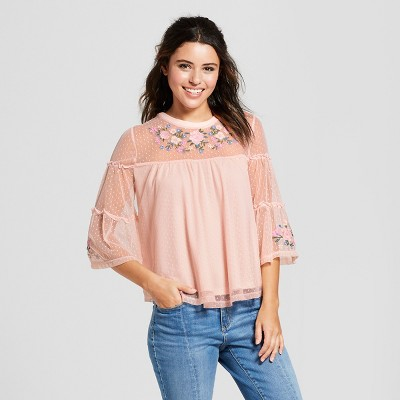 Women's 3/4 Sleeve Embroidered Knit Mesh Top   3 Hearts (Juniors') by 3 Hearts