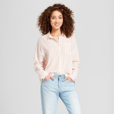 Women's Striped Long Sleeve Oversized Shirt   A New Day™ Red by A New Day™