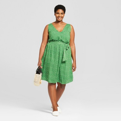 Women's Plus Size Polka Dot Sleeveless Tie Waist Dress   A New Day™ Green/White by A New Day™