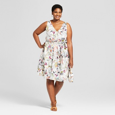 Women's Plus Size Floral Print Sleeveless Tie Waist Dress   A New Day™ White by A New Day™
