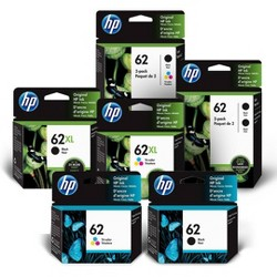 HP 62 Single & 2pk Ink Cartridges - Black, Tri-color