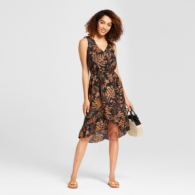 Women's Printed Sleeveless Wrap Dress   A New Day™ Black by A New Day™