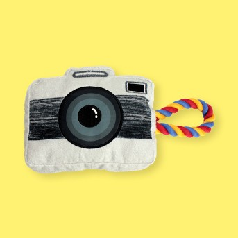 Camera with Rope Plush Dog Toy Squeaks - M - Boots & Barkley™