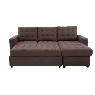 Bernard Tufted Microfiber Convertible Sofa With Storage In Espresso