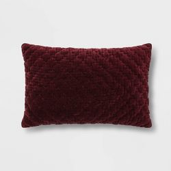 Hand Quilted Velvet With Zipper Closure Oversize Square Throw Pillow Threshold
