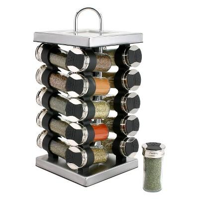 Olde Thompson Revolving Stainless 20 Jar Spice Rack