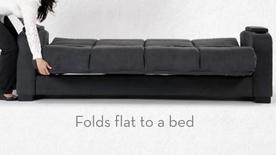 Robert Linen Rolled Arm Convert A Couch Futon Sofa Sleeper   Handy Living
