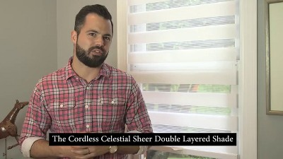 d47e21e14d3 Play Cordless Celestial Sheer Double Layered White Shade - video 1 of 2. +  3 more