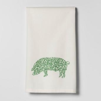 Pig Kitchen Towel White/Green - Threshold™