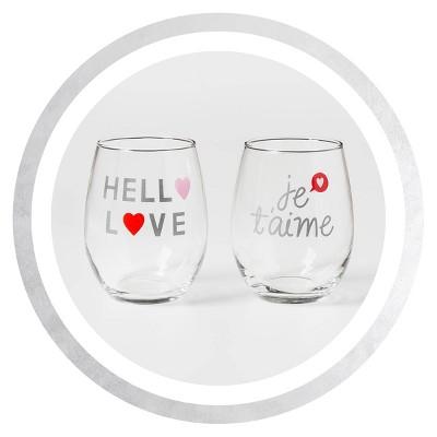 Threshold™ - Hello Love & Jet'aime 2pc Stemless Wine Glasses
