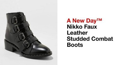992fc0af8e5 Women's Nikko Faux Leather Studded Combat Boot - A New Day™ Black