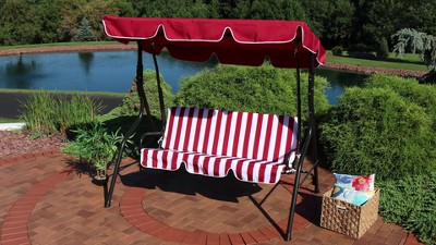 2 Person Steel Frame Porch Swing With Adjustable Canopy Red Stripe