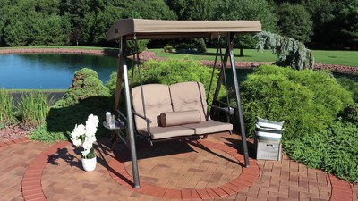 2 Person Steel Frame Porch Swing With Adjustable Canopy And Pillows